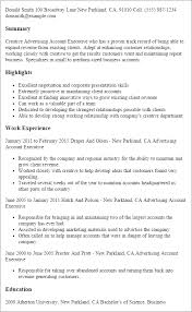 Executive Resume Format Template Professional Advertising Account Executive Templates To Showcase
