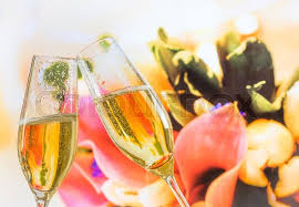 Wedding Flowers Background Champagne Flutes With Golden Bubbles Make Cheers On Wedding