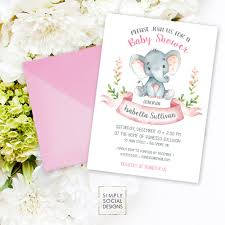 elephant baby shower invitation floral pink boho elephant it u0027s a