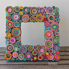 recycling craft upcycled rolled paper frame tutorial