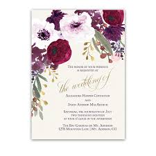 burgundy flowers floral wedding invitations bohemian purple wine flowers