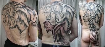 grey ink tiger on backpiece