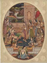 mughal miniature painting handmade india moghul empire harem home
