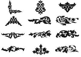 decorative floral outlined ornament vectors free vector