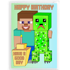 minecraft cards inspired by minecraft birthday card with envelope a5