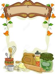 background illustration of country kitchen with blank signboard