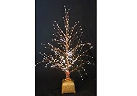 concepts 32 inch brown fibre optic twig tree with gold