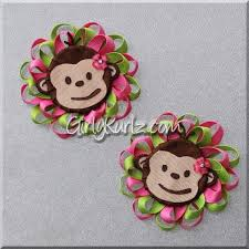 loopy bow flower monkey hair bow monkey hair clip zoo hair bow girly kurlz