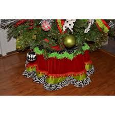 christmas tree skirt red lime green zebra
