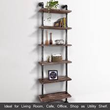 Industrial Bookcase With Ladder by 6 Tier Industrial Ladder Wall Shelves Diy Iron Pipe Standing Book