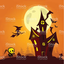flying halloween ghost spooky old ghost house with fool moon and flying witch stock
