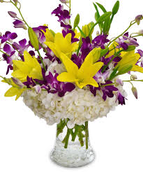 golden crown orchid lily u0026 hydrangea bouquet same day delivery