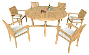Piece Outdoor Patio Teak Dining Set  Round Table  Nain - 7 piece outdoor dining set with round table