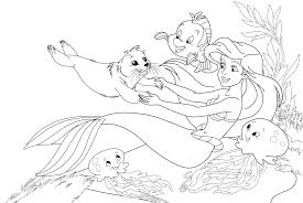 simple the little mermaid coloring pages with the little mermaid