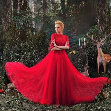 Red Wedding Dresses Aliexpress Com Buy Red Wedding Gown High Neck Half Sleeves