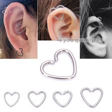 surgical steel hoop earrings 316l surgical steel silver heart ring helix cartilage tragus daith