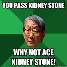 Kidney Stones Meme - you pass kidney stone why not ace kidney stone high