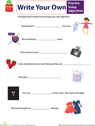get into grammar practice using adjectives worksheet