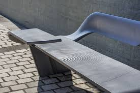 public bench contemporary stainless steel cast aluminum