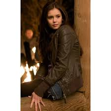nina dobrev leather jacket the vampire diaries elena gilbert jacket