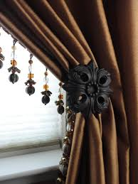 Decorative Trim For Curtains Drapery Panel With Lead Edge Bead Trim And Wrought Iron Decorative