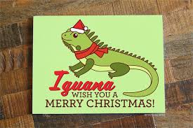 iguana pun card iguana wish you a merry