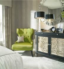 lime green bedroom furniture lime green tufted boudoir chair silver round mirror modern interior