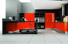 red kitchen white cabinets wooden varnished bar stools gray