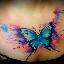 watercolor butterfly on chest
