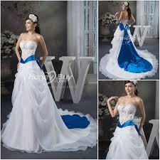 wedding dresses with color line strapless organza bowknot chapel wedding dress with color