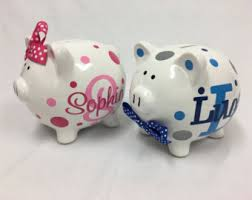 Monogram Piggy Bank Items Similar To Large Personalized Ceramic Piggy Bank Vintage