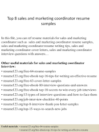 Sales Coordinator Cover Letter Sales And Marketing Coordinator Resume Resume For Your Job