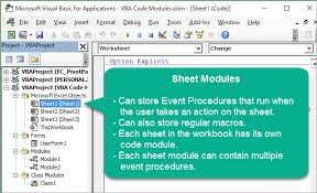 vba code modules u0026 event procedures for sheet u0026 thisworkbook
