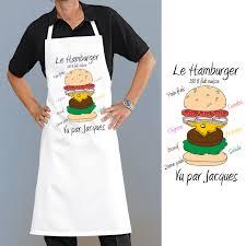 tablier cuisine tablier de cuisine motif hamburger personnalisé cadeau original