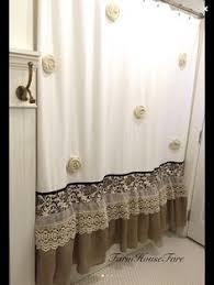 shabby chic shower curtain white ivory lace ruffle girls bohemian