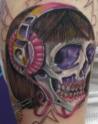 skull and headphones design girly skull tattoos