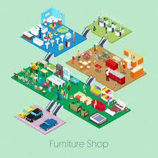 Shop For Living Room Furniture Isometric Furniture Shop Inside With Kitchen Bathroom And Living