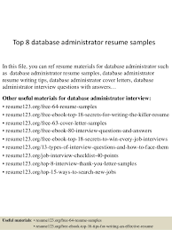 Oracle Dba Resume Format For Freshers Sample Database Administrator Resume U2013 9 Documents In Word