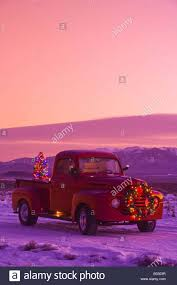 Vintage Ford Truck Brochures - vintage ford pick up truck with christmas wreath and tree in back