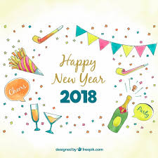 festive 2018 background with watercolor vector free