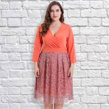 women plus size lace dress deep v neck 3 4 sleeves side sales