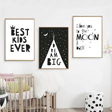 toile chambre enfant grand rêve toile peinture noir blanc minimaliste nordique affiches