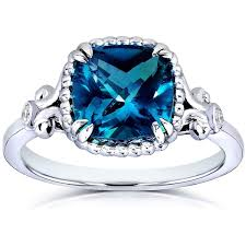 london blue topaz engagement ring annello by kobelli white goldplated silver cushion cut london blue