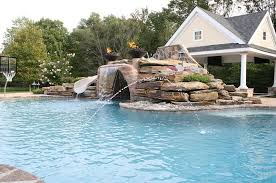 Best Backyard Water Slides Exterior Swimming Pool With Rock Curved Slide And Waterfall Also