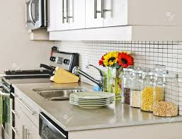 small kitchen interior design modern small kitchen interior with natural stone countertop stock
