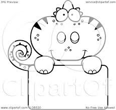 cartoon clipart of an outlined cute chameleon lizard over a sign
