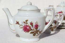 vintage china with pink roses child s size china tea set japan moss pink roses porcelain