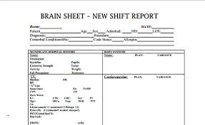 Shift Report Sheet Template Brain Sheets Shift Report Scrubs The Leading