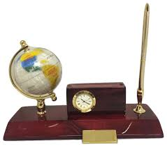 executive desk set globe cardholder clock u0026 pen stand