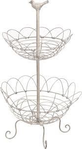 metal fruit basket white metal fruit basket with bird design two tier